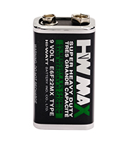 HW BRAND CARBON ZINC BATTERY E6F22M 9V SIZE METAL JACKET
